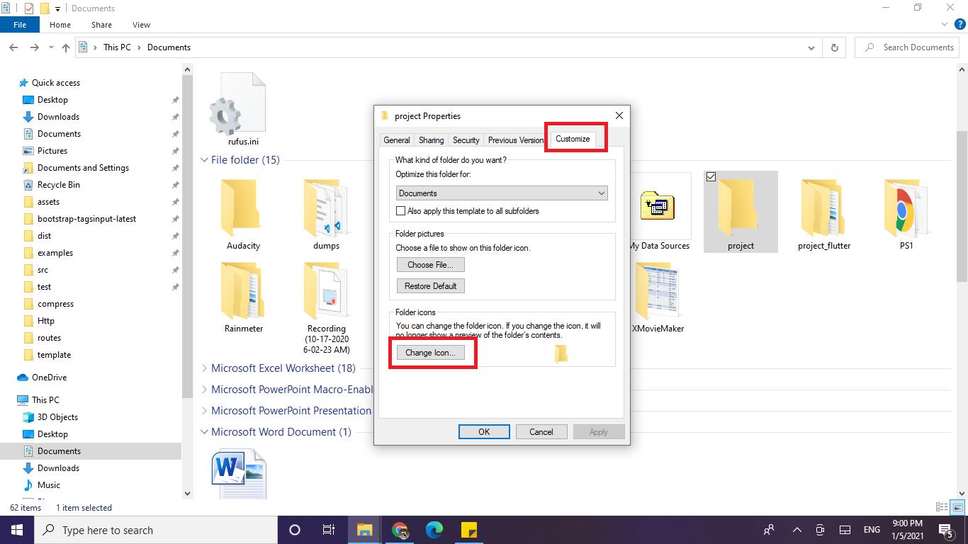 cara ganti icon folder