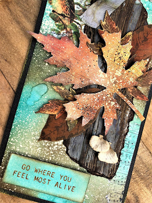Sara Emily Barker Saturday Showcase Faux Bark and Leaf Tutorial for The Funkie Junkie Boutique #wendyvecchi #makeartblendabledyeink #timholtz #sizzixalterations #stampersanonymous 13