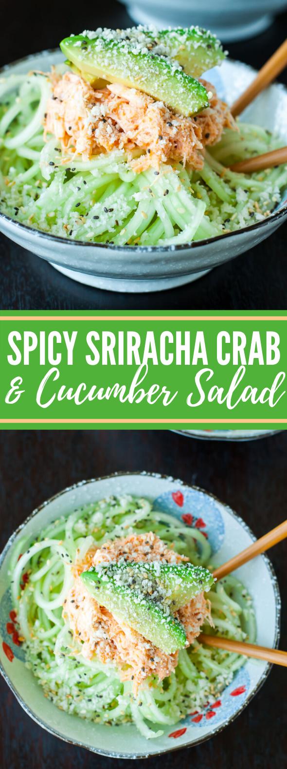SPICY SRIRACHA CRAB AND CUCUMBER SALAD #vegetarian #appetizers #salad #noodles #cucumber