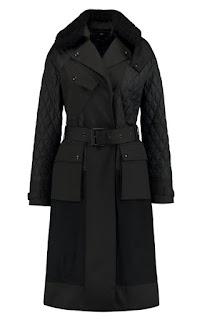 Стеганое черное пальто с поясом