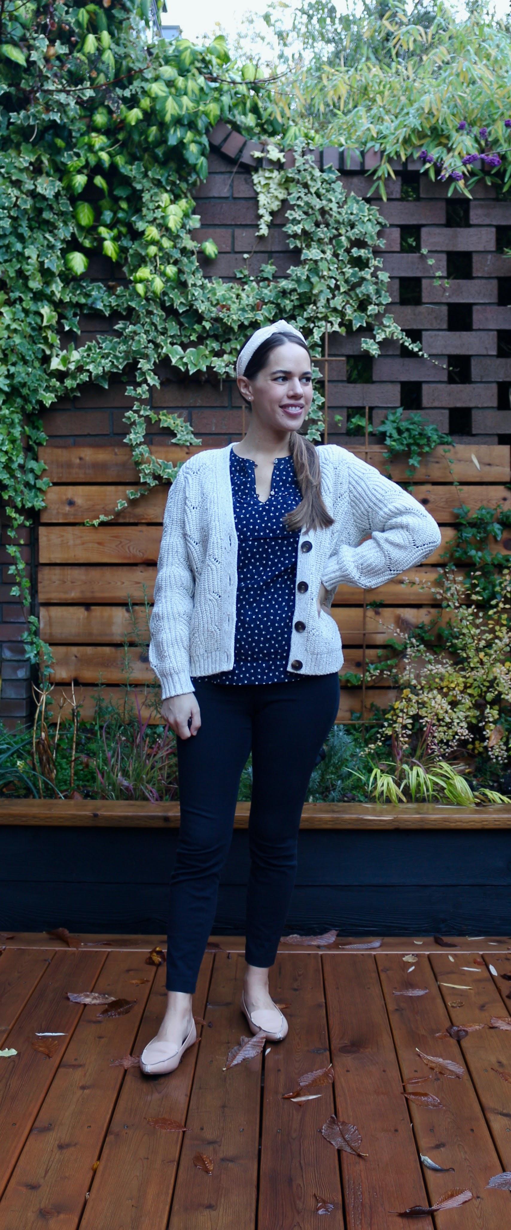 Jules in Flats - Chunky Knit Cardigan with Ruffle Top (Business Casual Workwear on a Budget)