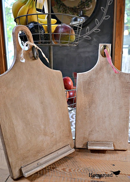 Wooden DIY ipad stands made from cutting boards.