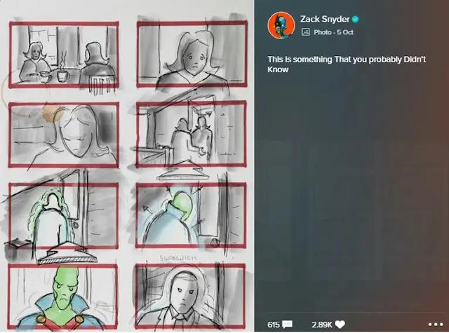 Storyboard que revela a Martian Manhunter