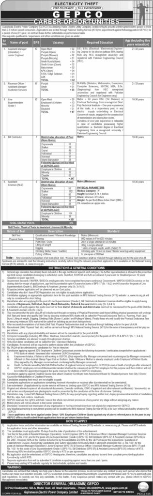 Gujranwala Electric Power Company Jobs 2019
