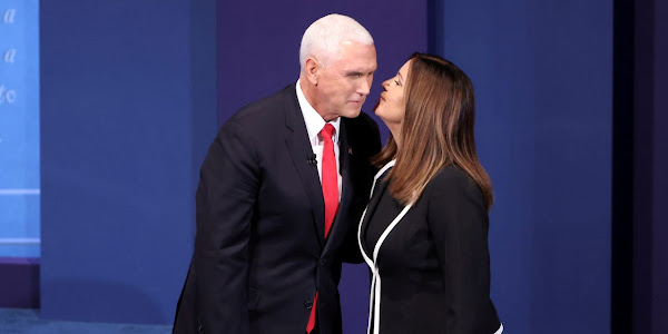 Second lady Karen Pence broke safety rules by not wearing a face mask when she joined her husband on stage after the vice presidential debate