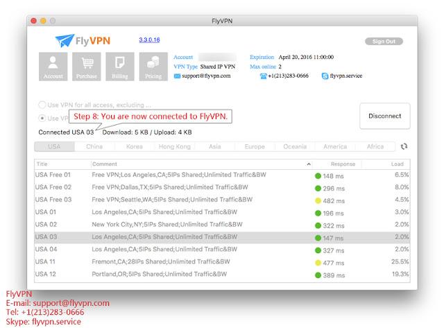 FlyVPN Mac用戶端連線成功