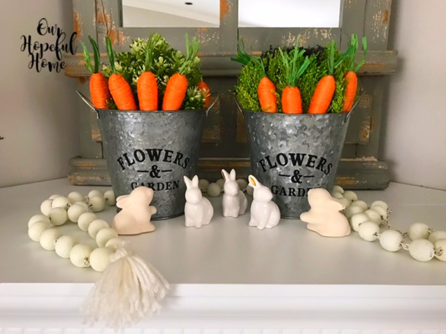 galvanized bucket Flowers & Garden orange jute carrots white farmhouse beads porcelain bunnies