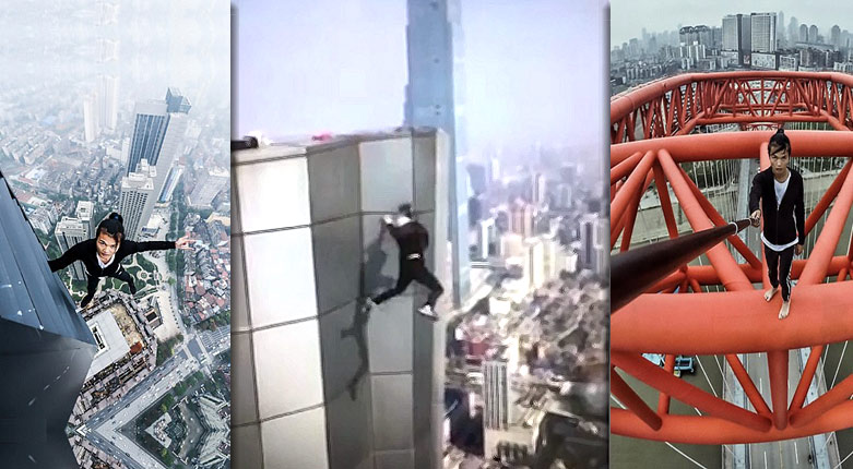 chinese daredevil rooftopper plunges
