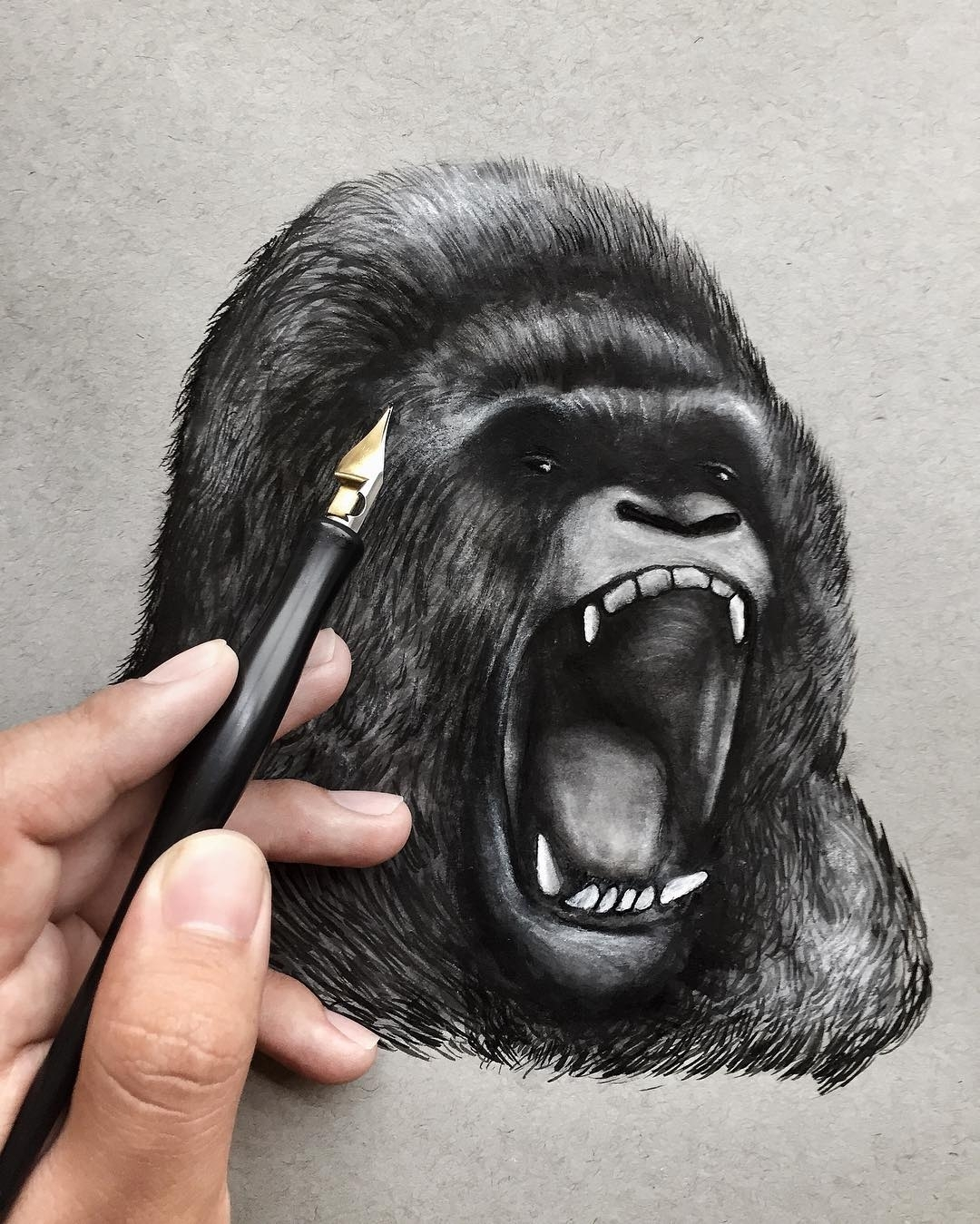 03-Silverback-Gorilla-Jonathan-Martinez-Art-of-the-Endangered-Paintings-and-Drawings-www-designstack-co