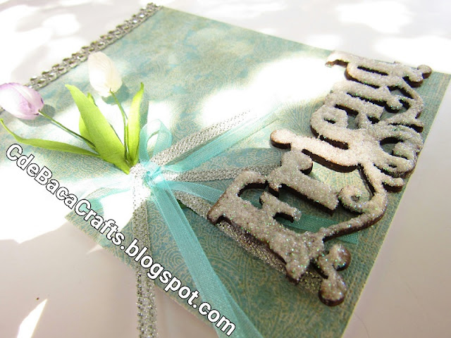 Friendship Handmade Card with Tulip Flowers and Glitter Cards by CdeBaca Crafts Blog.