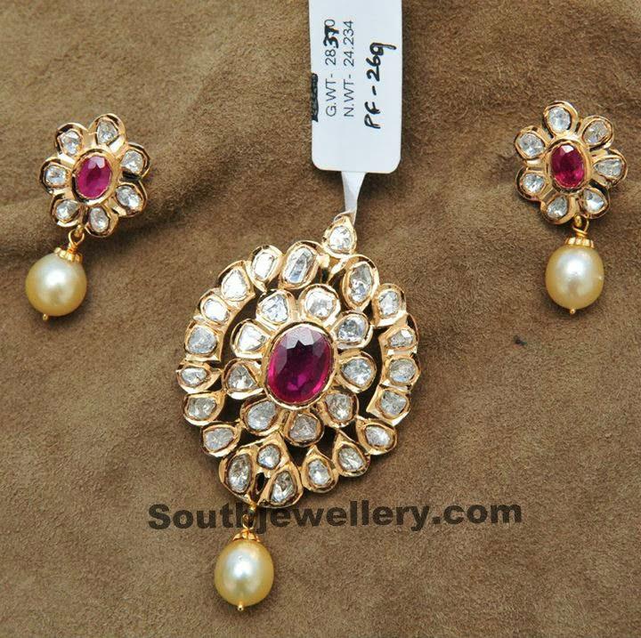 Uncut diamond pendant sets jewellery designs uncut diamond pendant set aloadofball Image collections