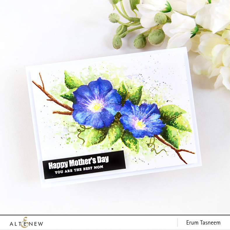 Altenew Build-A-Flower: Morning Glory   Watercolored with Distress Inks   Erum Tasneem   @pr0digy0