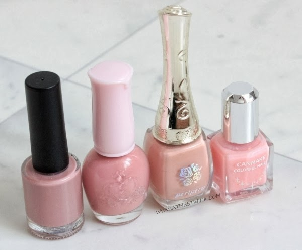 pink nail polishes from Modi, Etude House, Peripera, and Canmake