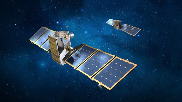 An artist's concept of the twin Janus spacecraft.