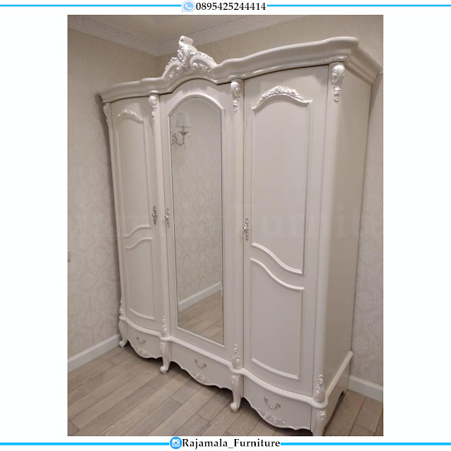 Lemari Pakaian Mewah Kaca Luxury Carving White Duco Classic RM-0422