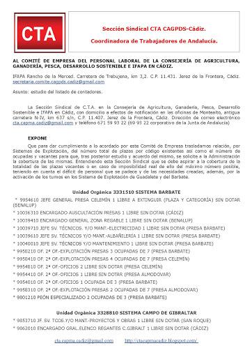 Remitimos al Comité de Empresa escrito sobre el estudio de los listados de contadores de los Sistema