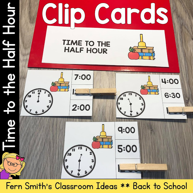 Click Here to Get These Back to School Clip Cards Time to the Hour and Half Hour for Your Class!