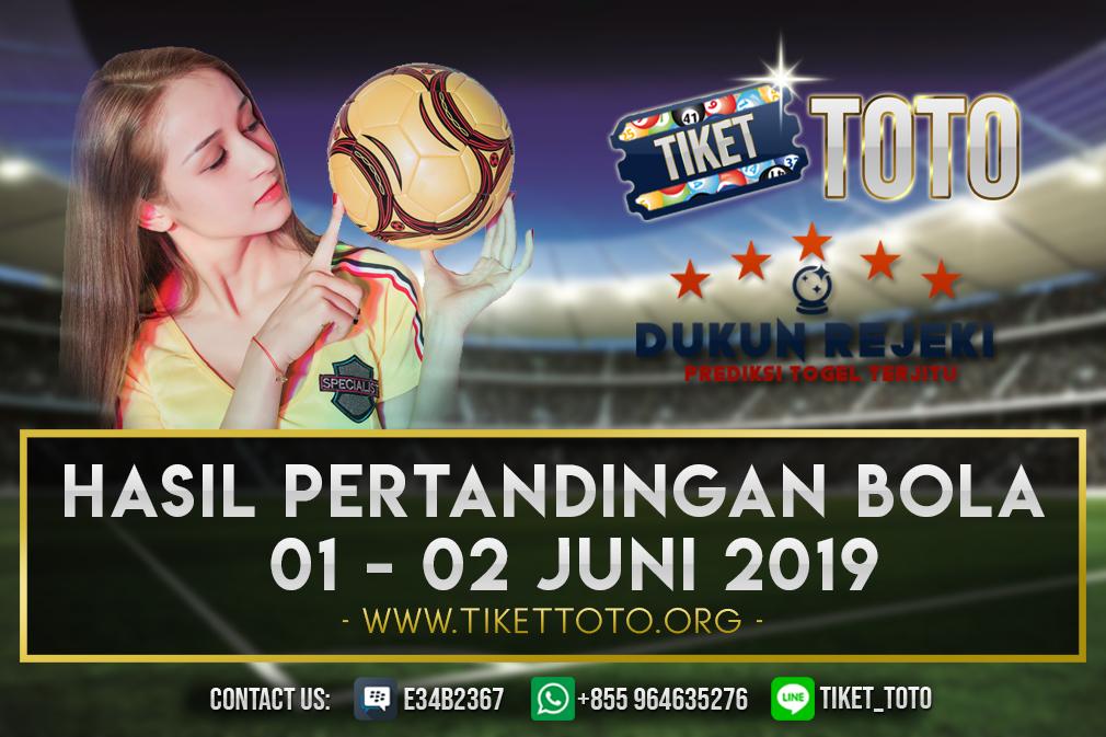 HASIL PERTANDINGAN BOLA TANGGAL 01 – 02 JUNI 2019