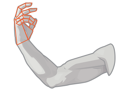 Draw the hand as basic shapes