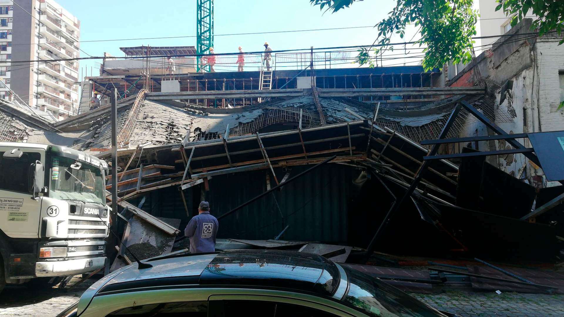 Derrumbe de obra en Belgrano