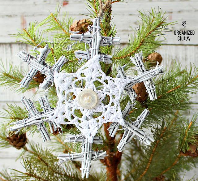 Twig Snowflake Christmas Tree Ornament Makeover #Upcycle #treeornaments #snowflakes #twigornaments