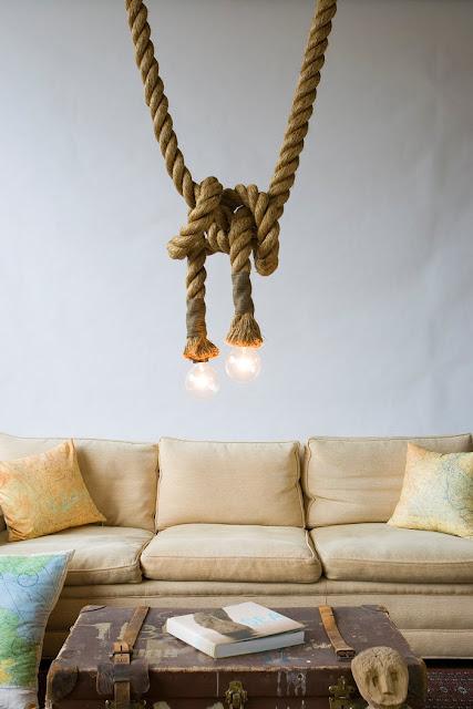 ديكور للإضاءة بحبل من القنب