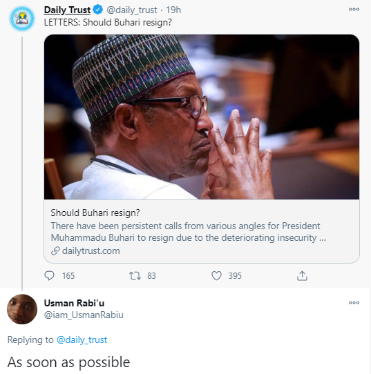"""Nigerians react after man who hailed President Buhari a few days ago calls for his immediate resignation after his brothers were kidnapped in the Katsina school attack"""