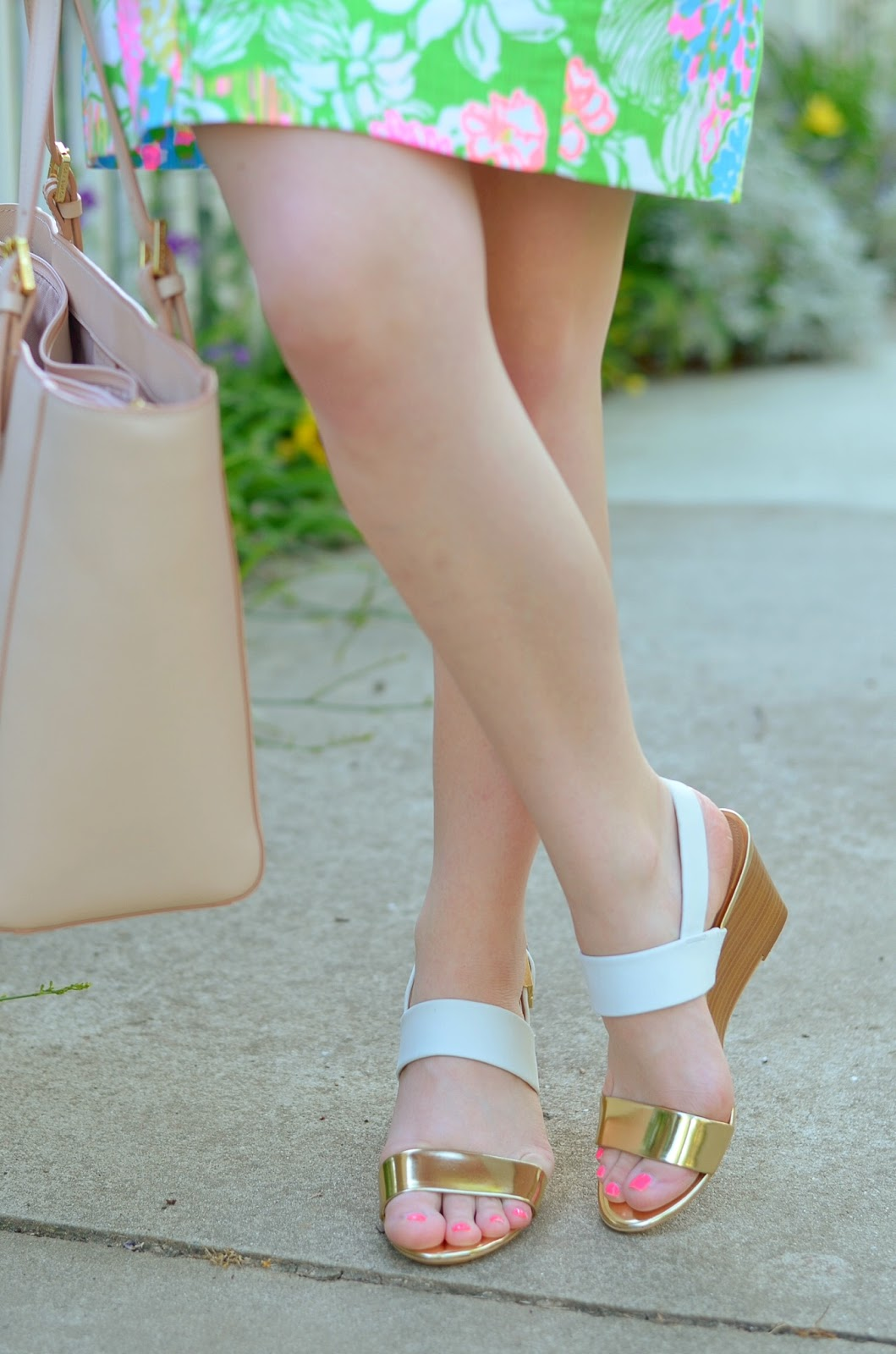 White & Gold Wedges