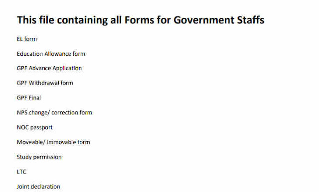 All Government Forms for Government Staffs