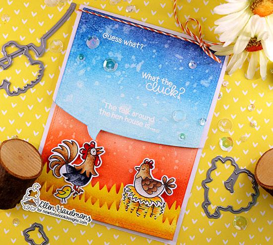 Chicken Birthday Card by Ellen Haxelmans | Cluck Stamp Set, Speech Bubbles Die Set, and Land Borders Die Set by Newton's Nook Designs #newtonsnook #handmade