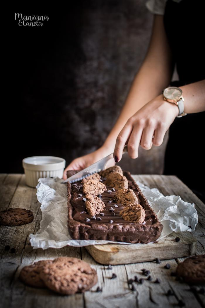 Tarta de cookies y chocolate. Receta muy fácil sin horno.