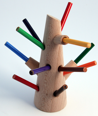 pencil holder shaped like a tree trunk