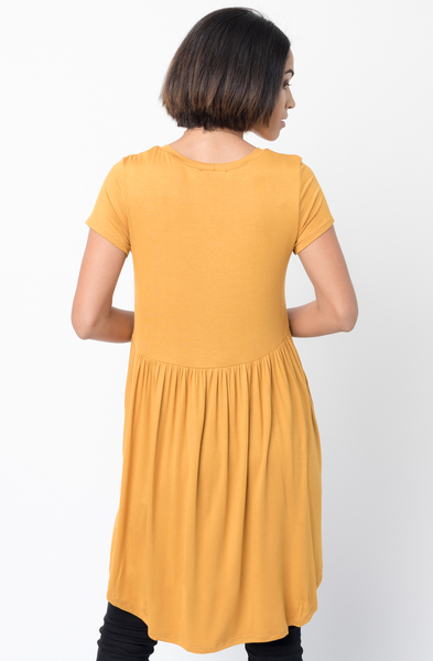 Shop for Mustard Tee tunic dress  u neck and a full skirt  Online - $44 - on caralase.com
