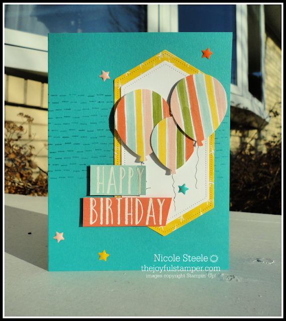 birthday card using Stampin' Up! balloon bouquet punch, Birthday Backgrounds, and Perennial Birthdays | Nicole Steele The Joyful Stamper