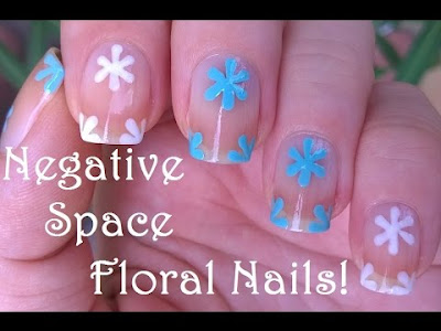 Floral Nail Art in Negative Space
