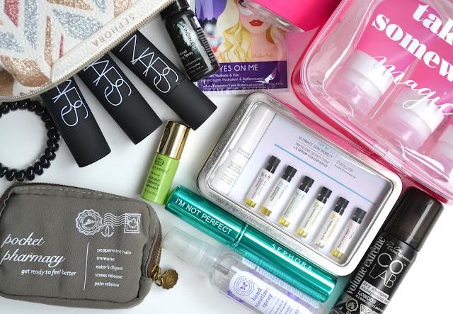 Travel Essentials NARS Saje COLAB Honest Company Sephora Foreo Odacite