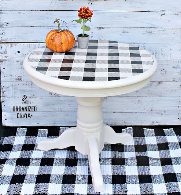 Photo of a buffalo checked round end table