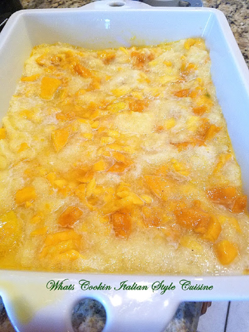 An easy cake made with pineapple, mango and a cake mix! Easy Mango Pineapple Dump