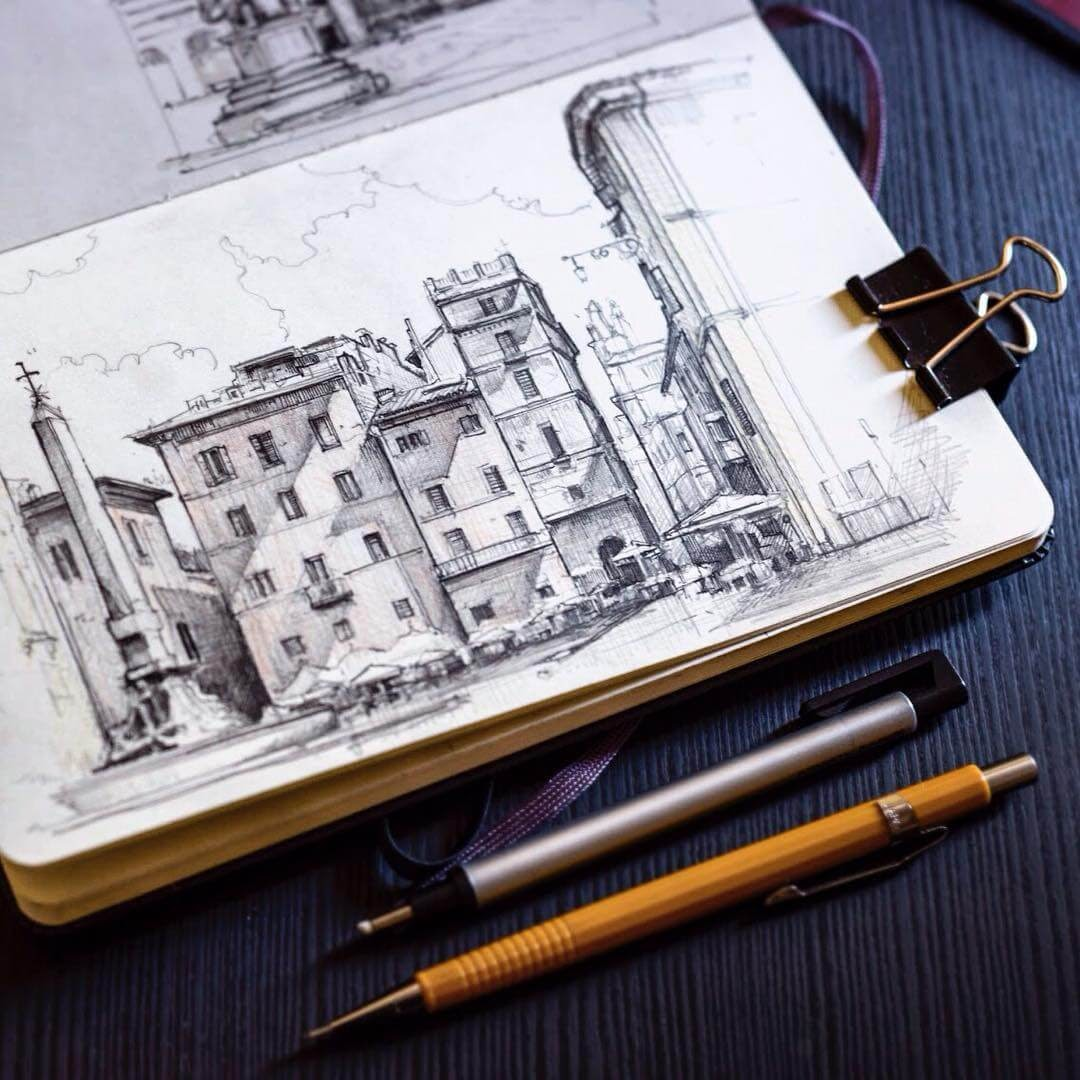 04-Piazza-della-Rotonda-Jerome-Tryon-Moleskine-Book-with-Sketches-and-Notes-www-designstack-co