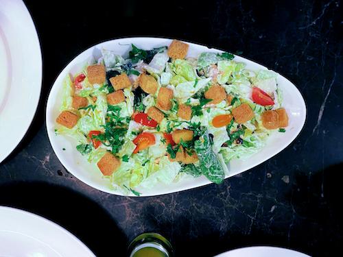 Caesar salad top view stock image