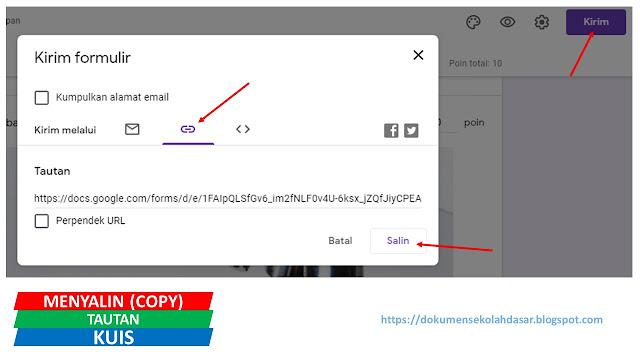 cara menyalin tautan/link kuis di google form