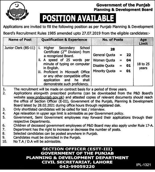 Latest Jobs in Pakistan Planning and Development Department Punjab Jobs 2021