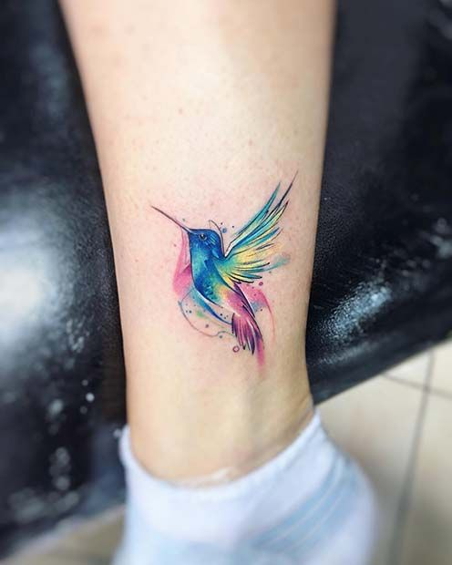 Abstract-Lines-Colourful-Hummingbird-Ankle-Tattoo