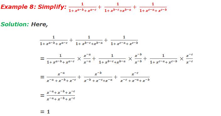 Example 8: Simplify: 1/(1+ x^(a-b)+ x^(a-c) )+ 1/(1+ x^(b-c)+x^(b-a) )+ 1/(1+ x^(c-a)+ x^(c-b) )