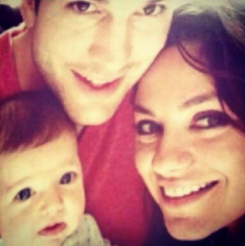 Ashton Kutcher & Mila show for the first time baby Wyatt