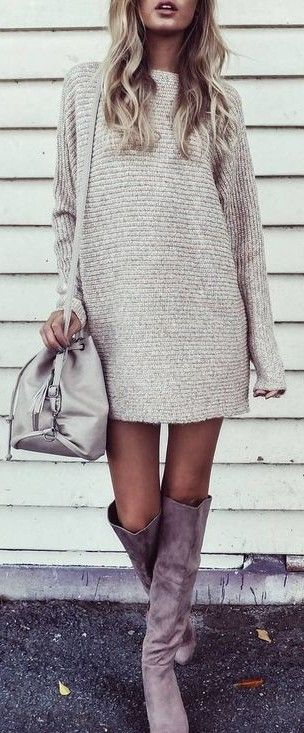 nude palettes_sweater dress + bag + high boots