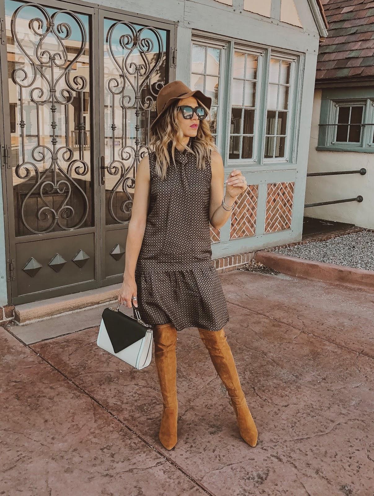 Drop Waist Dress With OTK Boots