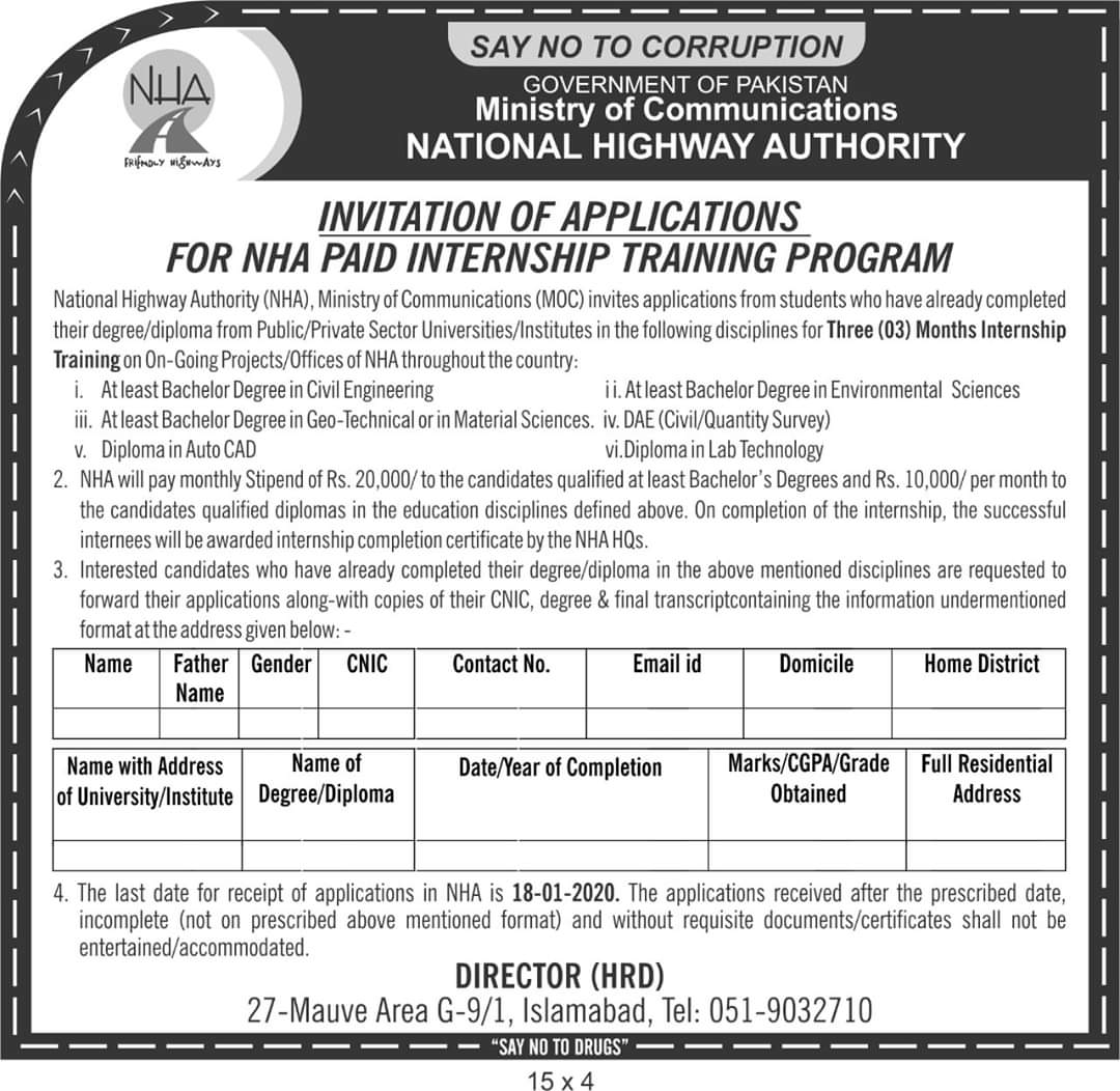 20k Stipend for National Highway Authority NHA Internship Training Program 2019