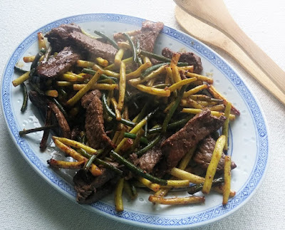 Stir-Fried Beef with Yellow Beans & Garlic Scapes