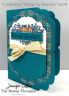 Fall card with Stampin' Up!'s Celebration Tidings Bundle/Plaid Tidings Suite.  This is a fun fold where you cut only a part/portion of the die.  #StampinUp #StampTherapist
